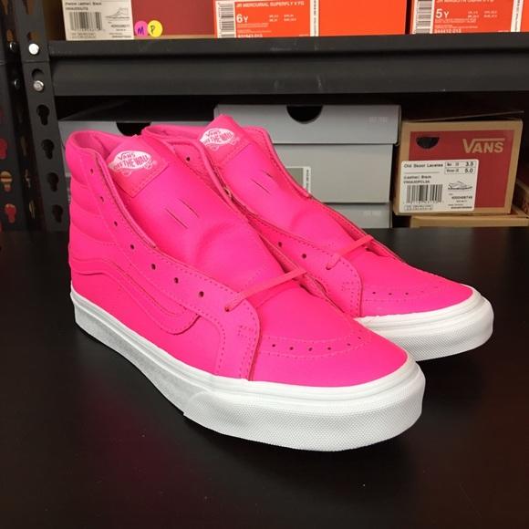 e691b0b201 Vans Sk8 Hi Slim Neon Pink Leather Women s NEW